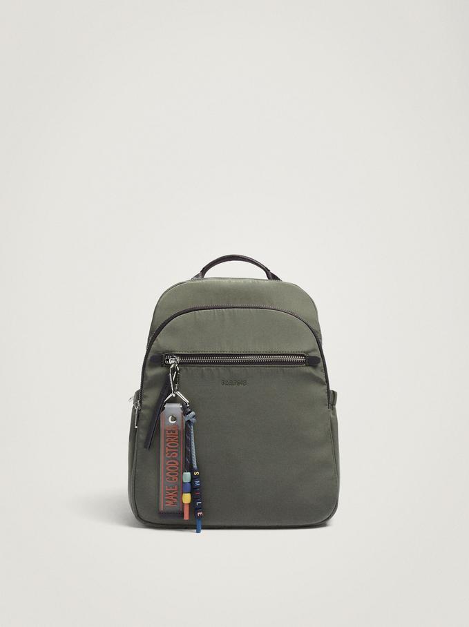 Nylon Backpack With Pendant, Khaki, hi-res