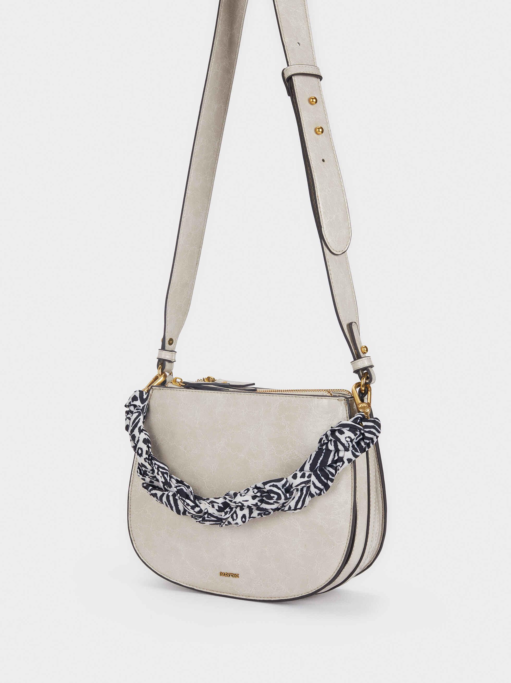 Crossbody Bag With Braided Handkerchief Detail, Ecru, hi-res