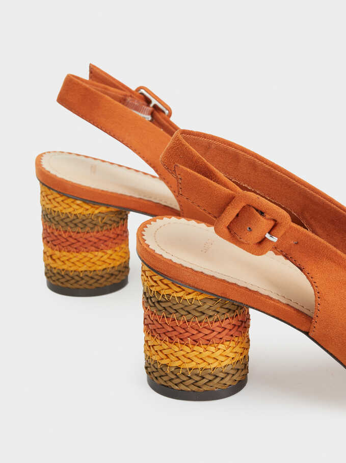 Mid-Heel Shoes With Multicoloured Plaited Heel, Orange, hi-res