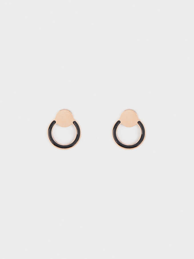 Rose Gold Stainless Steel Stud Earrings, Orange, hi-res