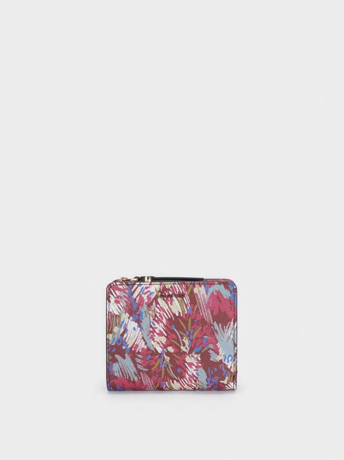 Cartera Compacta Estampado Floral, Violeta, hi-res