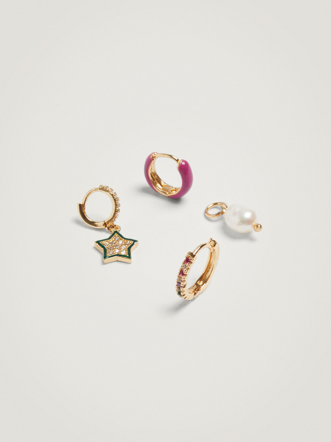 Set Of Hoops With Pearl And Star, Multicolor, hi-res