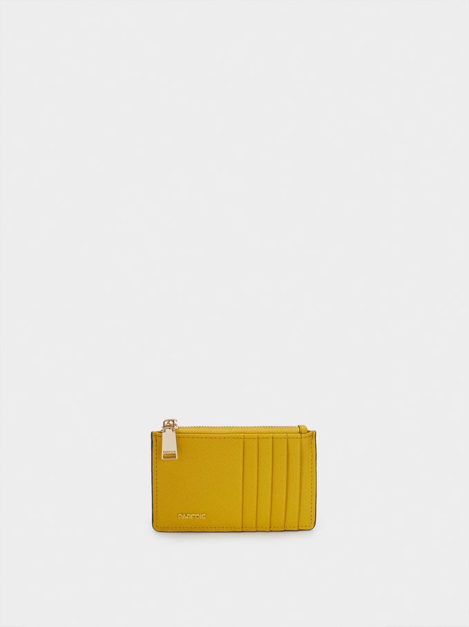 Plain Card Holder Purse, Yellow, hi-res