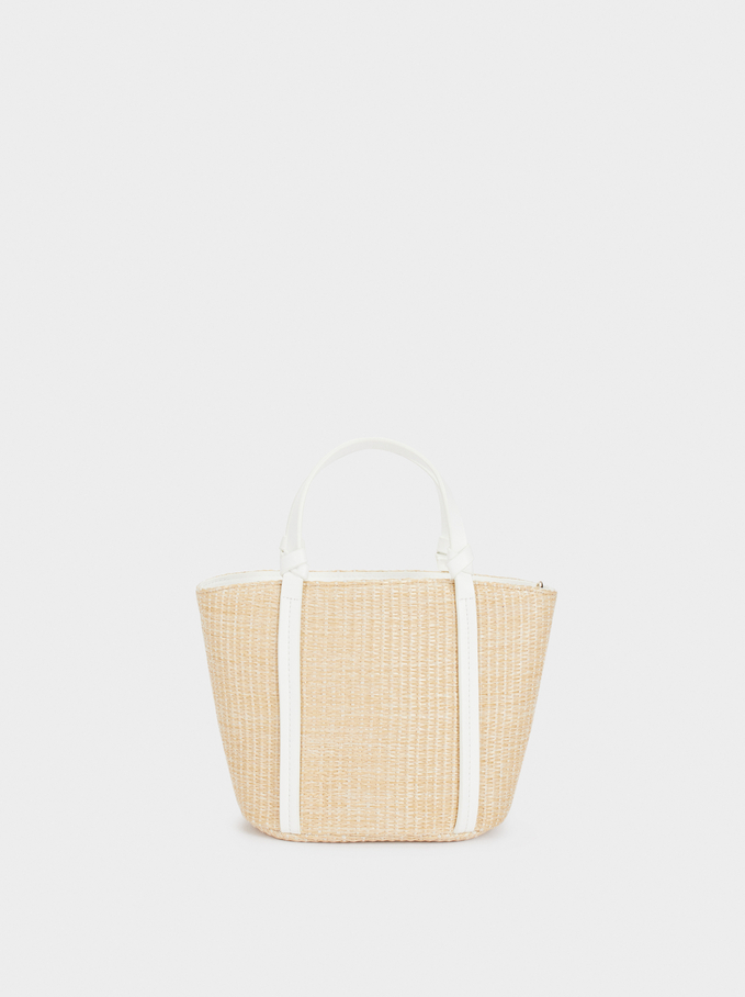 Raffia Textured Tote Bag , Beige, hi-res