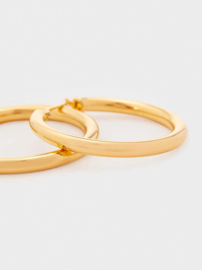 Medium Steel Hoop Earrings, Golden, hi-res