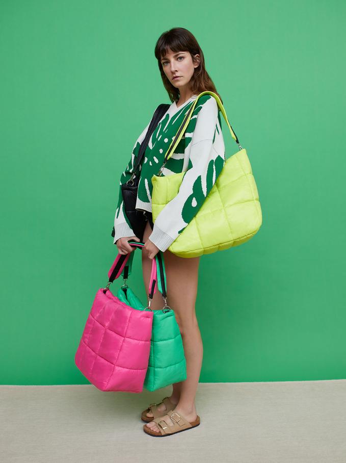 Pikowana Torba Shopper Z Nylonu, Rózowy, hi-res