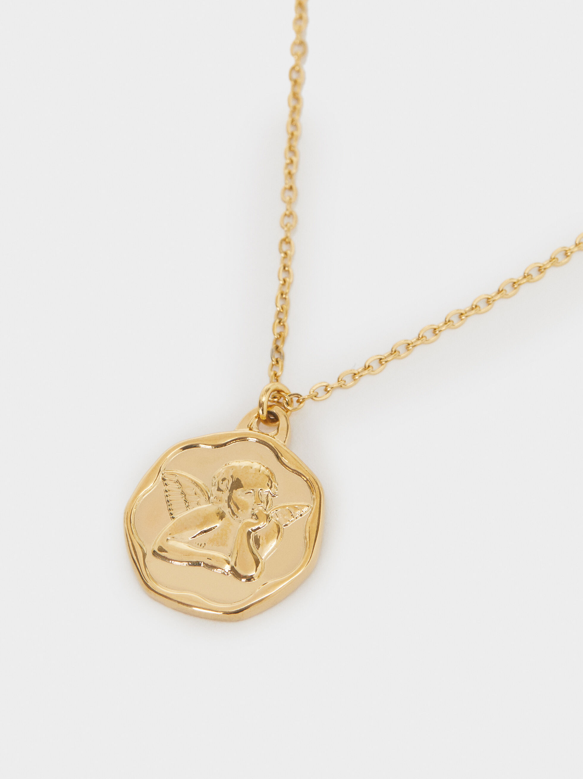 Short Steel Necklace With Medallion, Golden, hi-res