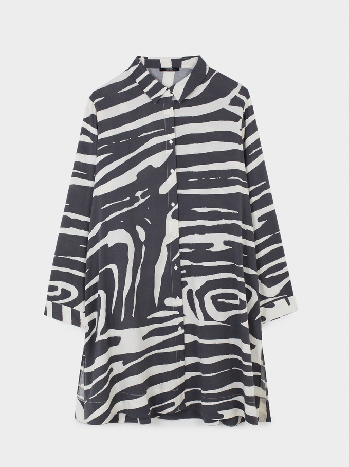Animal Print Shirt Dress, Grey, hi-res