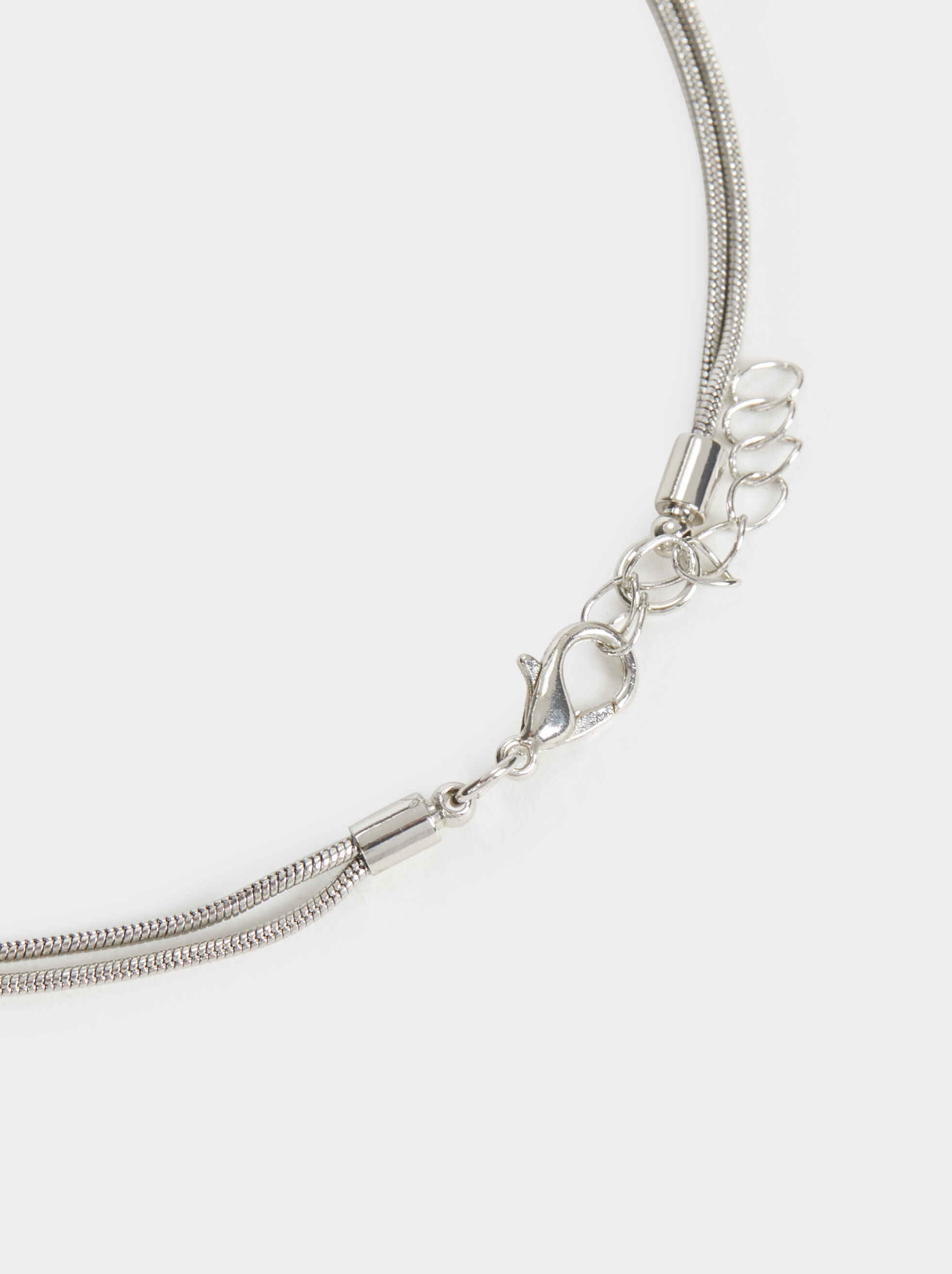 Long Beaded Necklace, Silver, hi-res