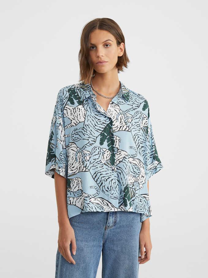 Flowing Animal Print Shirt, Blue, hi-res