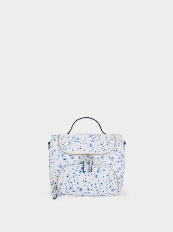 Floral Print Lunch Bag, Blue, hi-res