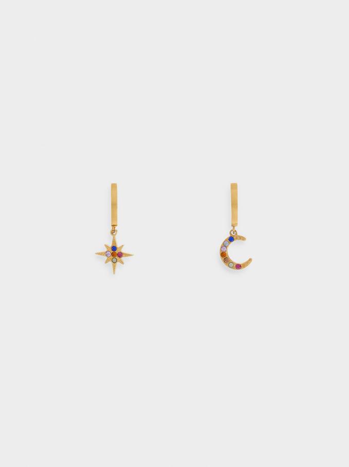 Small Steel Moon And Star Hoop Earrings, Multicolor, hi-res
