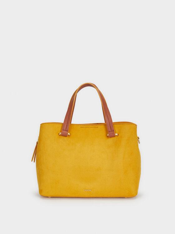 Suede Texture Tote Bag, Mustard, hi-res