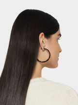 Star Dust Bejewelled Hoop Earrings, Black, hi-res