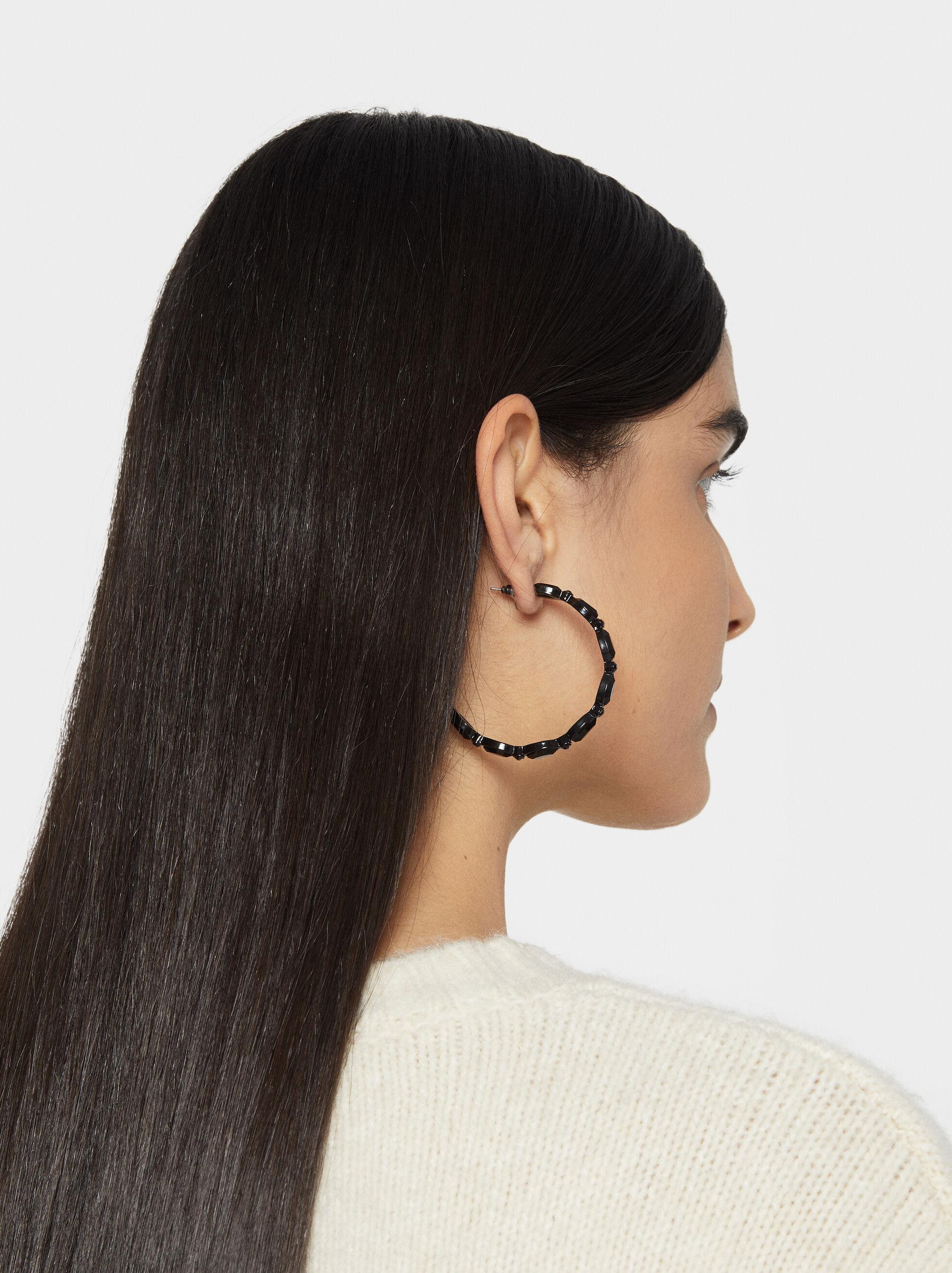Star Dust Bejewelled Hoop Earrings, Black, hi-res