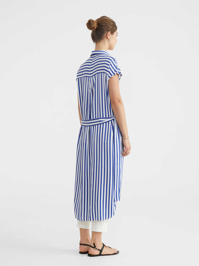 Striped Shirt Dress, Blue, hi-res