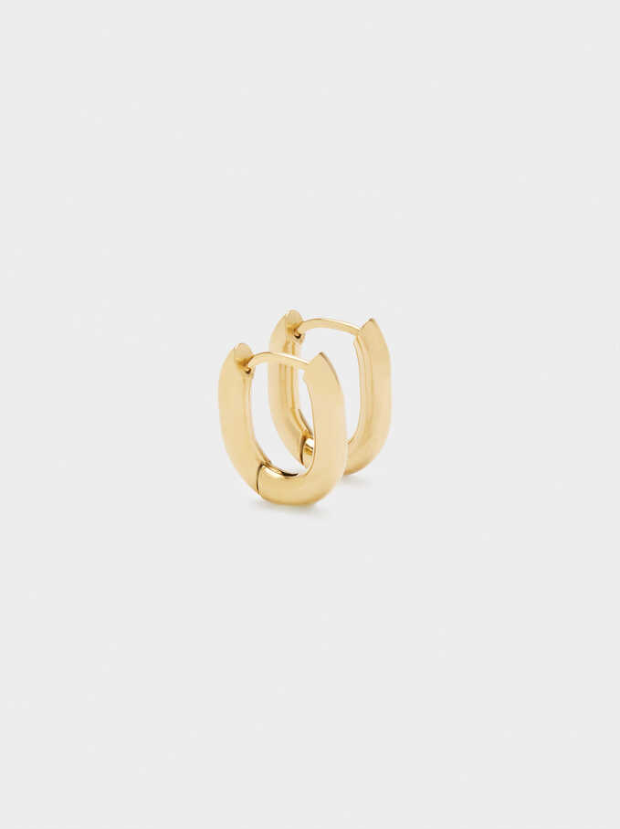 Gold Stainless Steel Small Hoop Earrings, Golden, hi-res