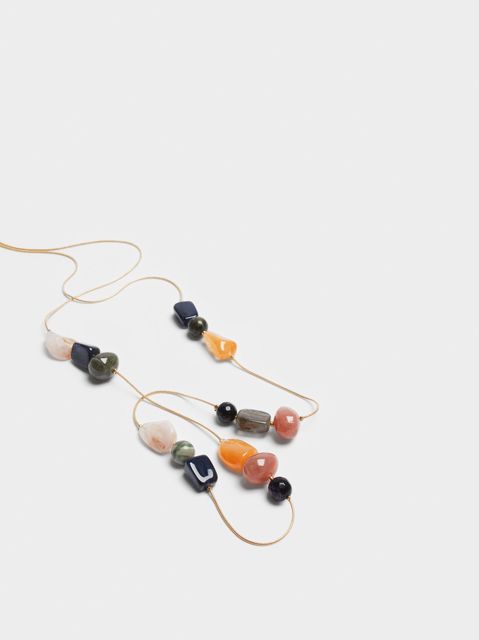 Long Necklace With Stones And Pearls, Multicolor, hi-res