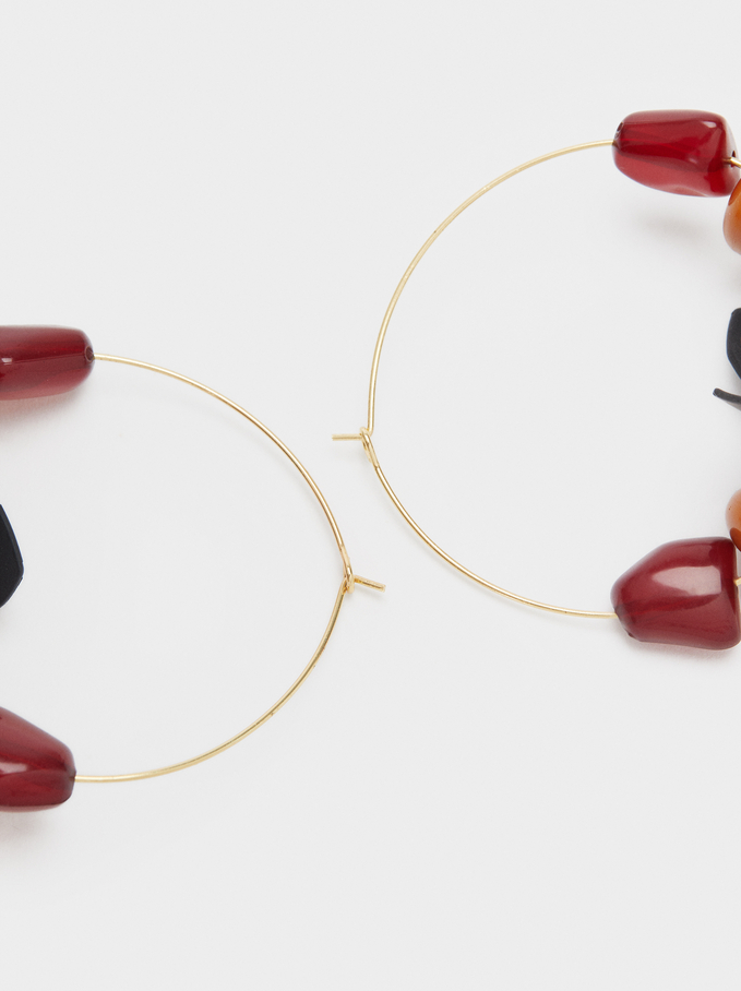 Large Hoop Earrings With Multicolour Stones, Multicolor, hi-res