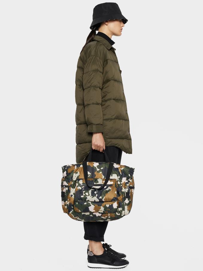Oversized Quilted Jacket, Khaki, hi-res