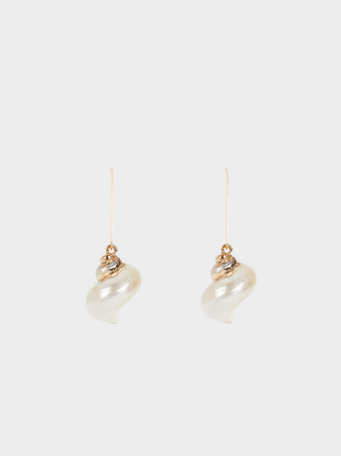Medium Hoop Earrings With Seashell Details, Golden, hi-res