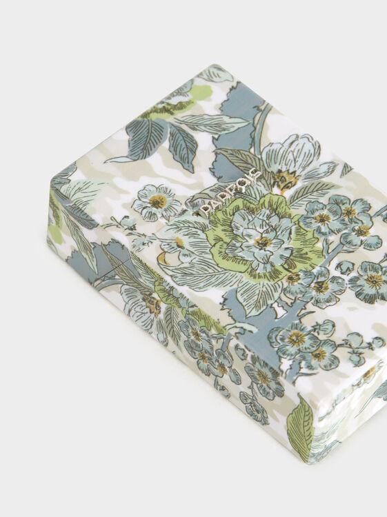 Regular Floral Print Cigarette Box, Blue, hi-res
