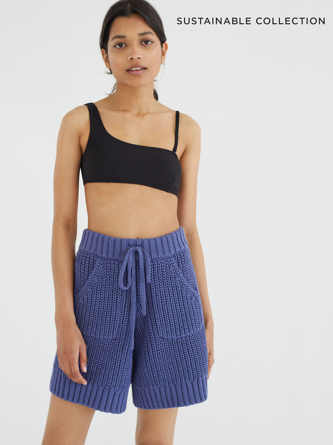 Limited Edition Knit Shorts Made From Recycled Materials, Blue, hi-res