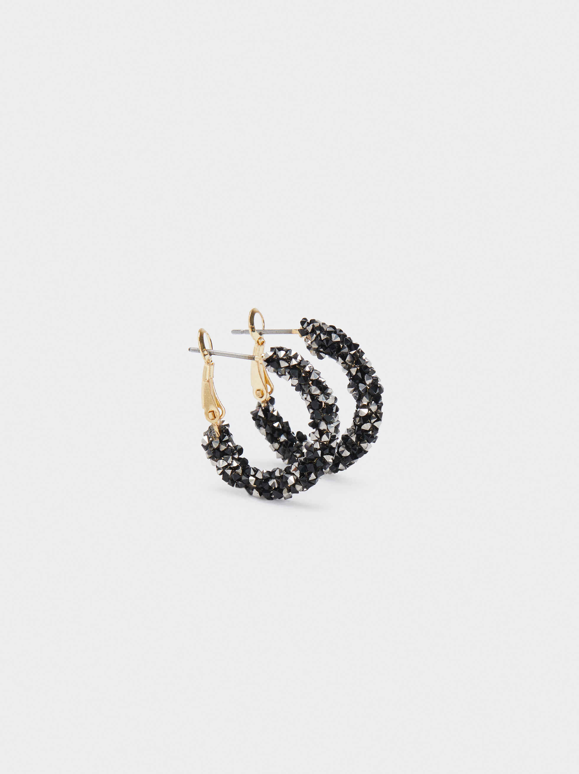Small Hoop Earrings, Black, hi-res