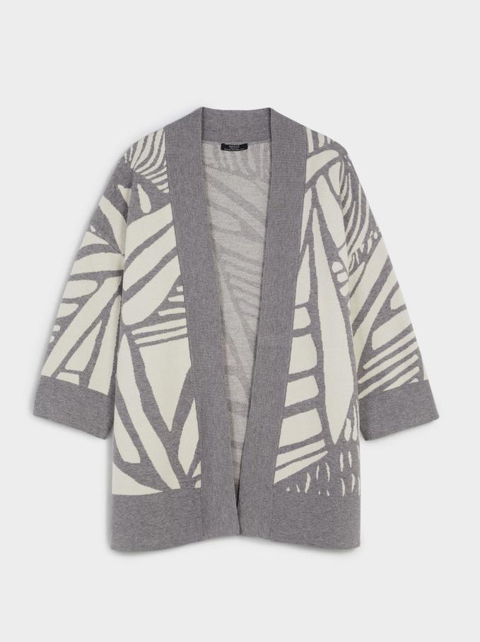 Knit Printed Jacket, Grey, hi-res