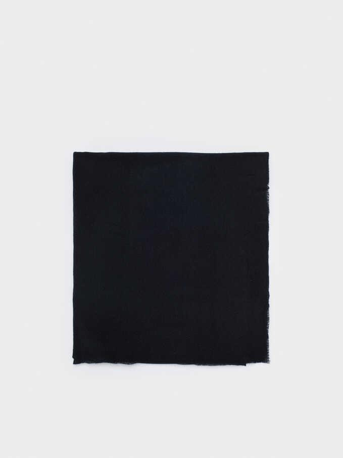 Plain Maxi Scarf, Black, hi-res