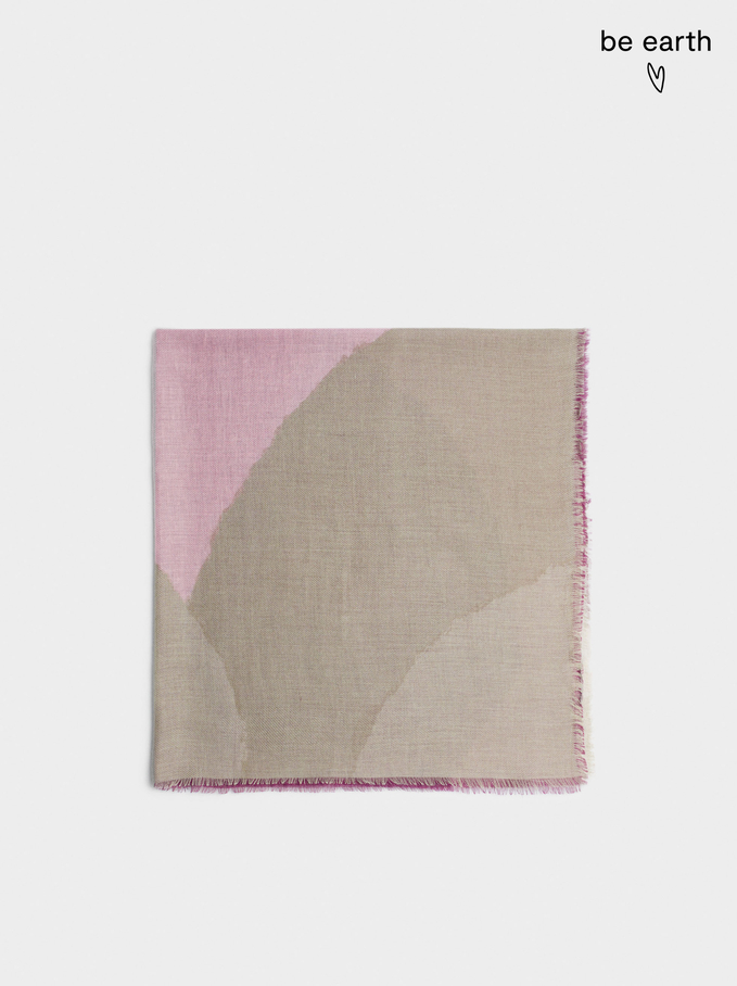 Printed Scarf Made From Recycled Materials, Pink, hi-res
