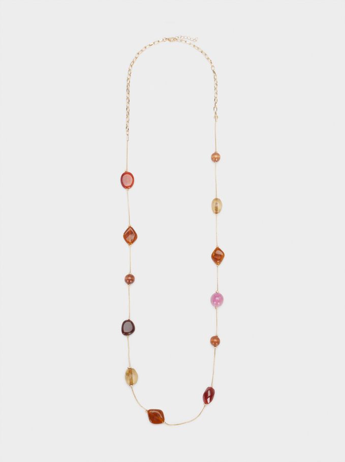 Long Necklace With Multicoloured Beads, Multicolor, hi-res