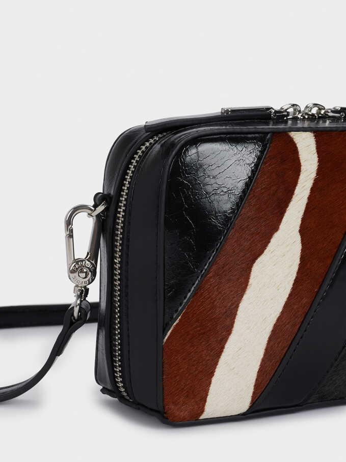 Leather Crossbody Bag With Patchwork Design, Black, hi-res
