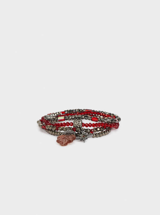 Set Of Elastic Bracelets With Multicoloured Crystals, Bordeaux, hi-res