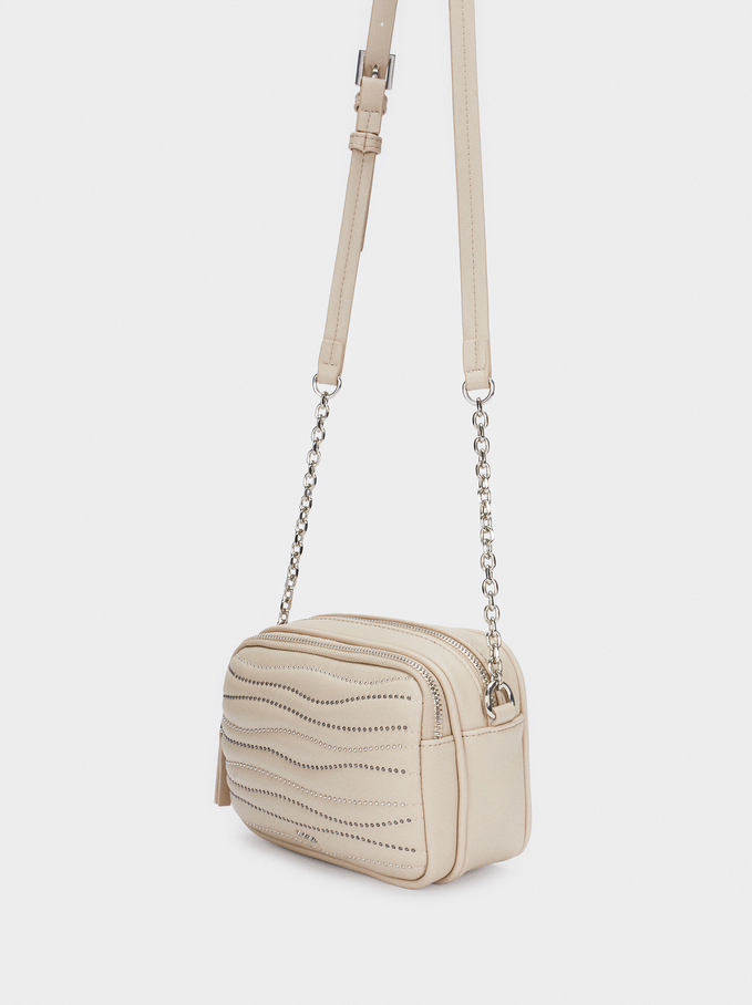 Quilted Crossbody Bag With Contrast Handle, Beige, hi-res