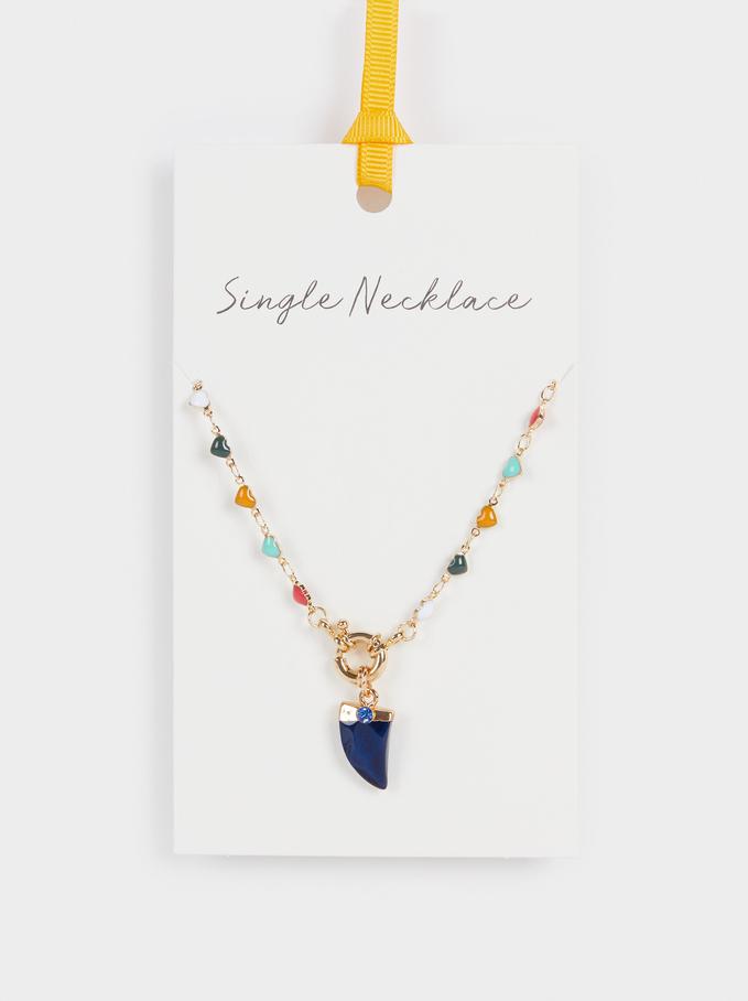 Short Necklace With Multicoloured Hearts, Multicolor, hi-res