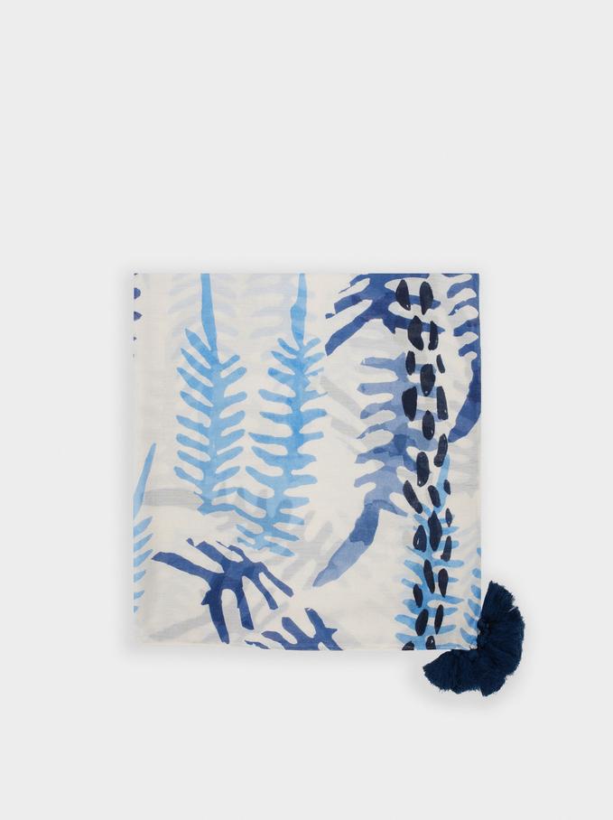 Pañuelo Estampado Hojas, Azul, hi-res