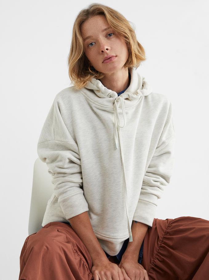 Knit Hoodie, Grey, hi-res