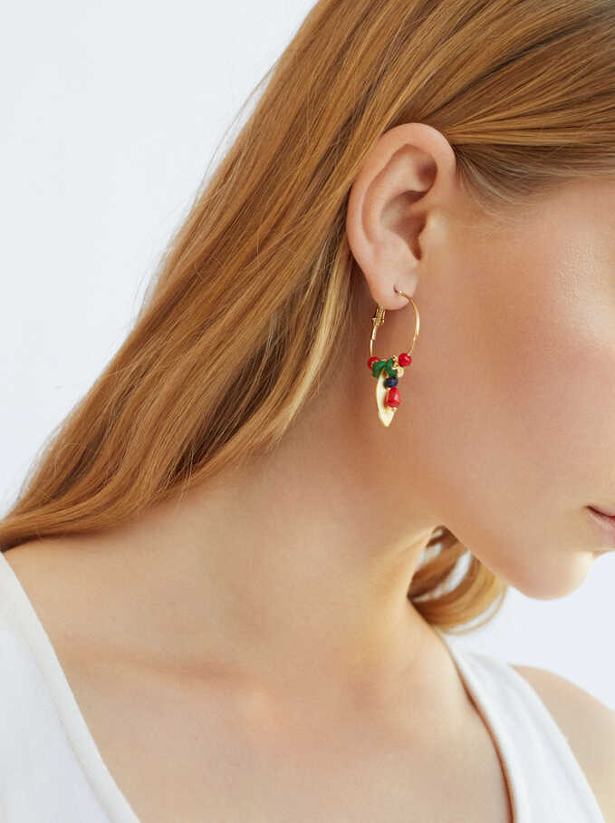 Hoop Earrings With Pendants And Beads, Multicolor, hi-res