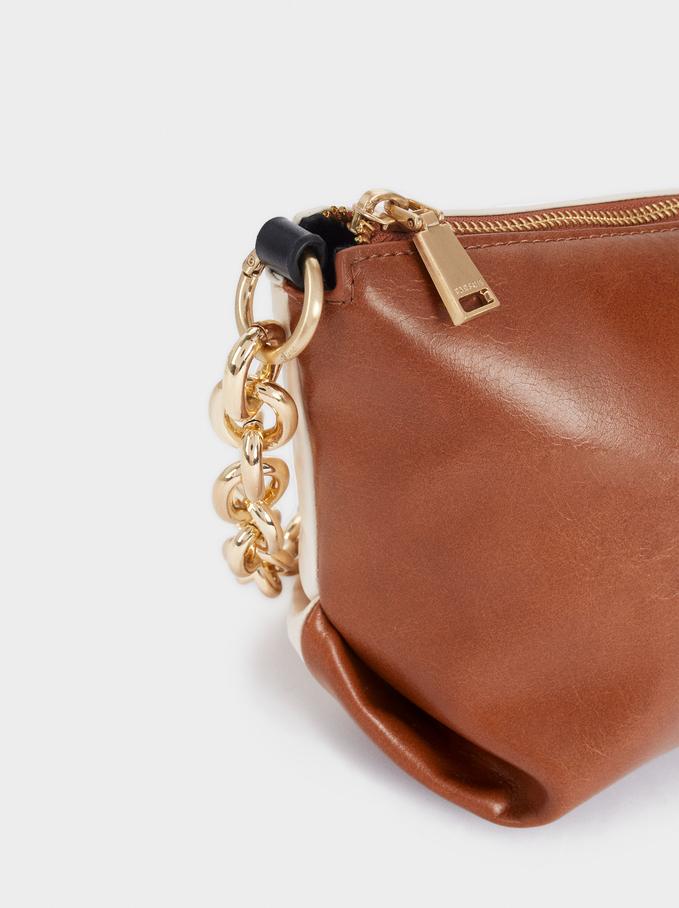 Shoulder Bag With Contrast Strap, Camel, hi-res
