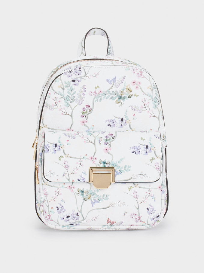 Floral Print Backpack With An Outer Pocket, Violet, hi-res