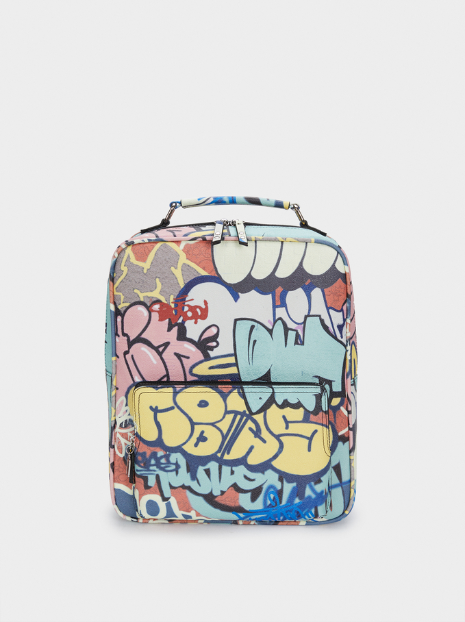 Graffiti Print Backpack, Black, hi-res
