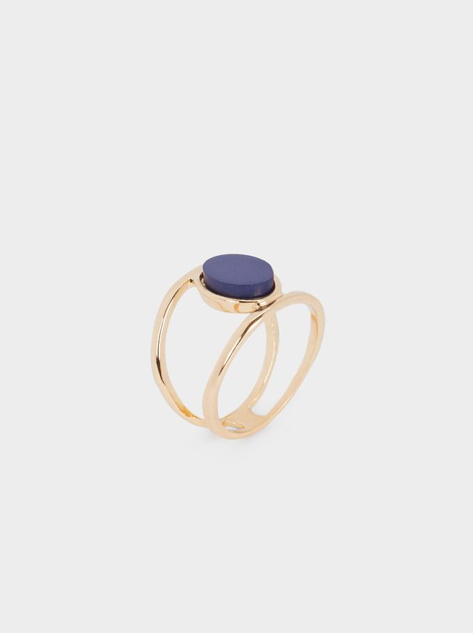 Anel Com Pedra, Azul Marinho, hi-res