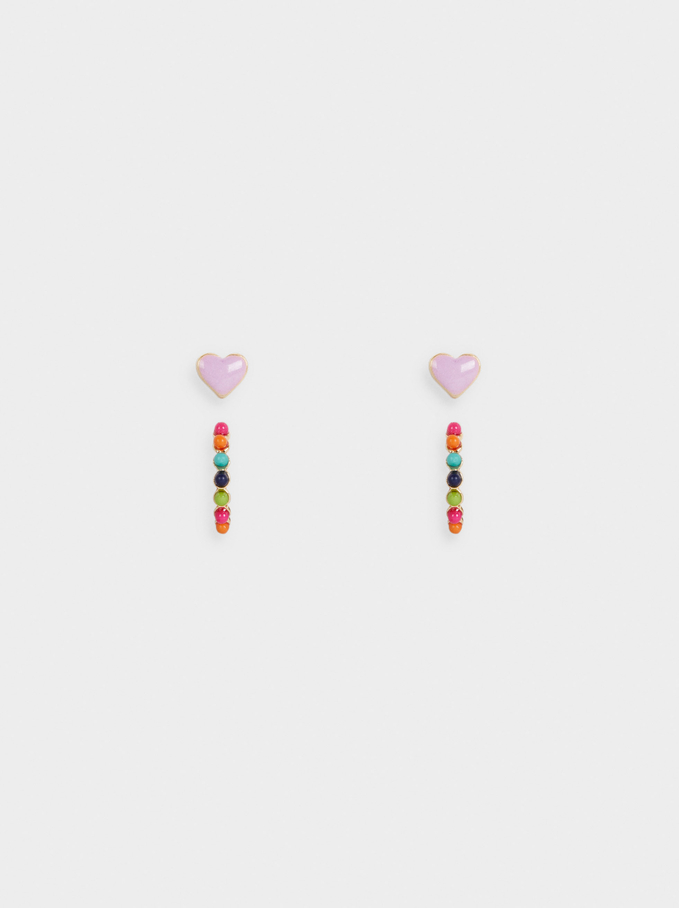 Hoop Earrings Set With Heart And Beads, Multicolor, hi-res