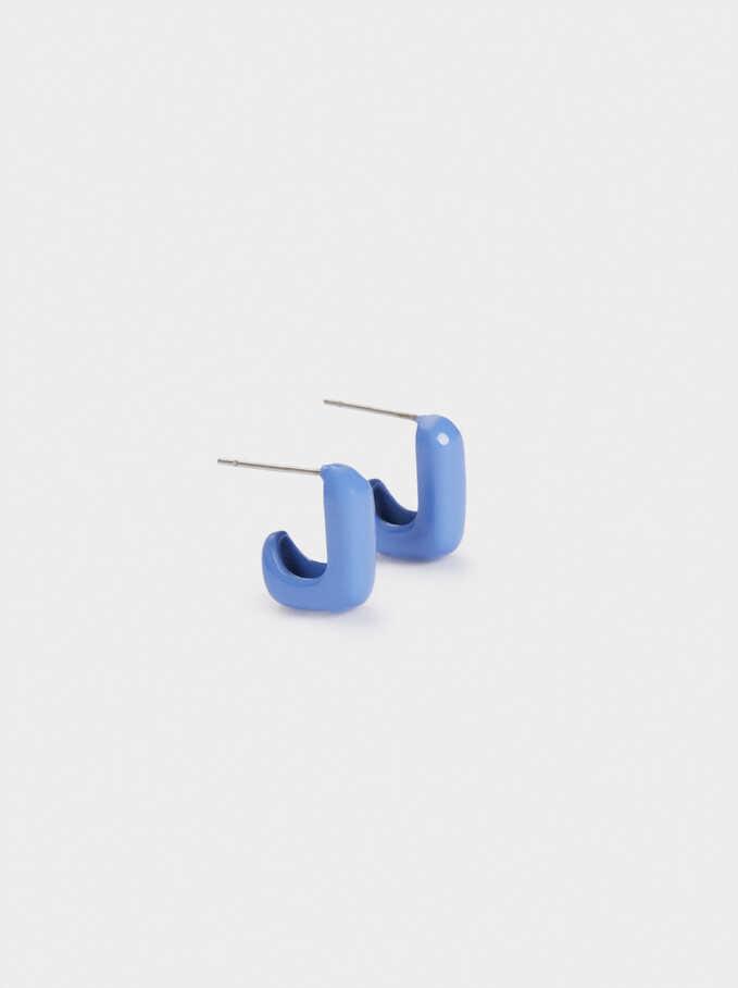 Square-Shaped Hoop Earrings, Blue, hi-res