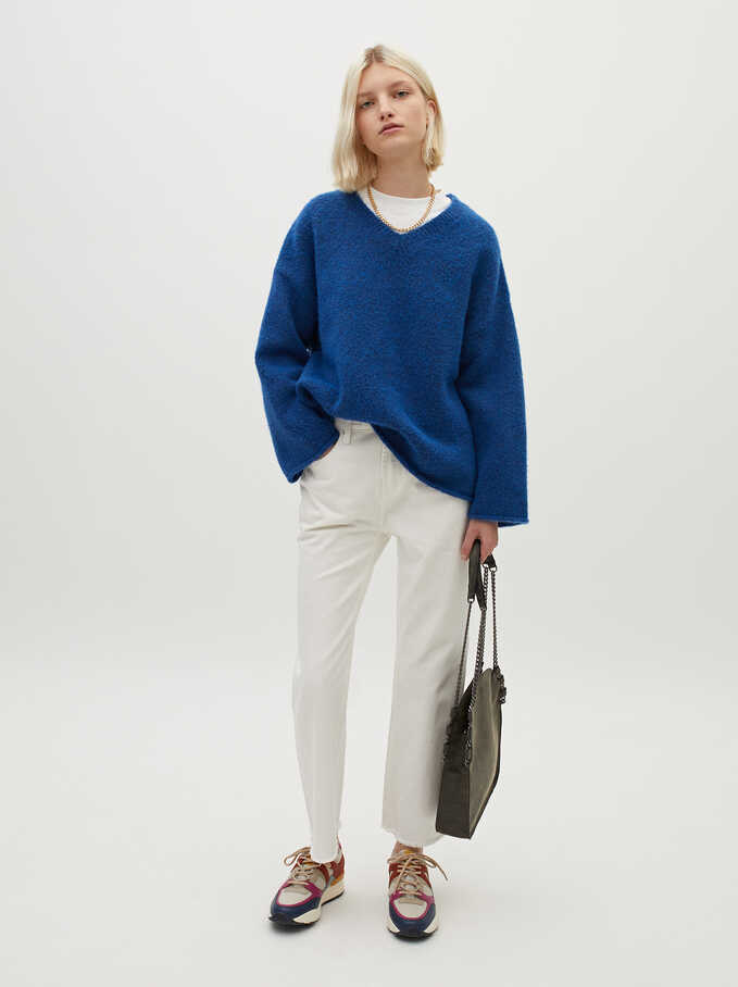Knitted V-Neck Sweater, Blue, hi-res