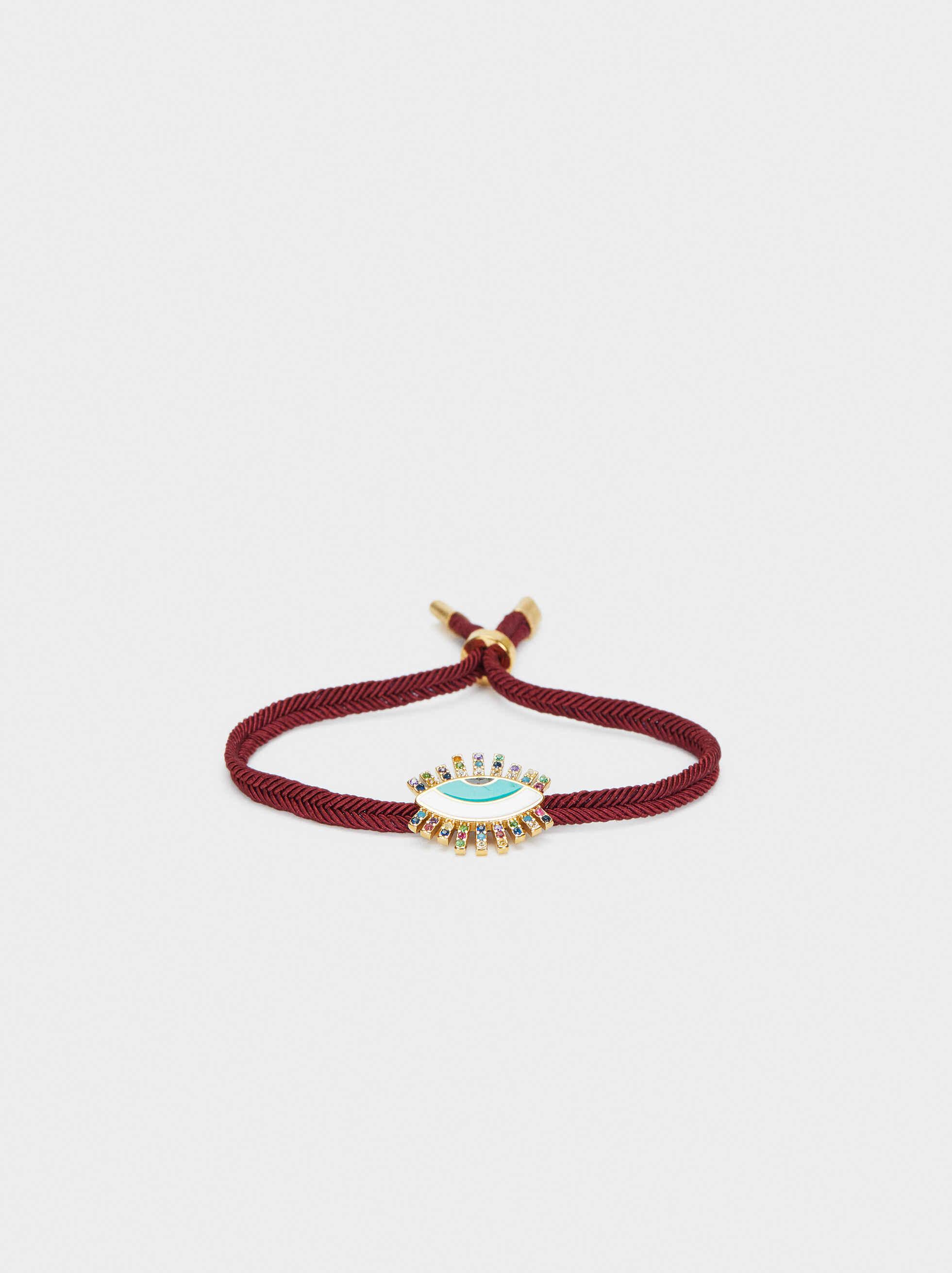 Adjustable Stainless Steel Bracelet With Multicoloured Eye Charm, Bordeaux, hi-res