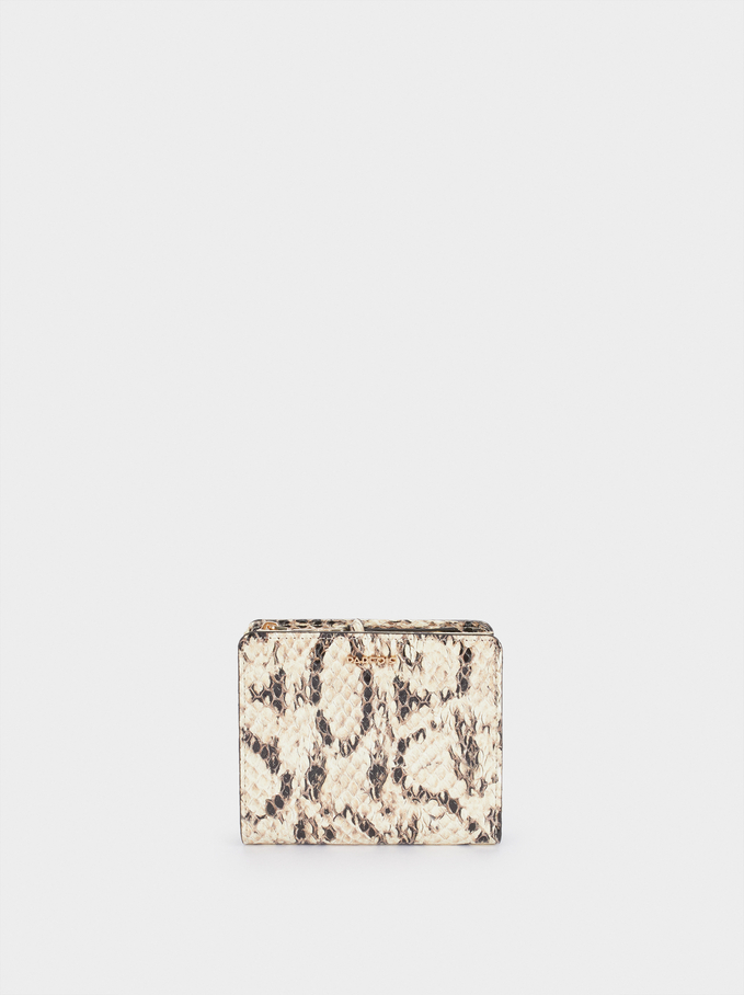 Embossed Animal Print Compact Purse, Beige, hi-res