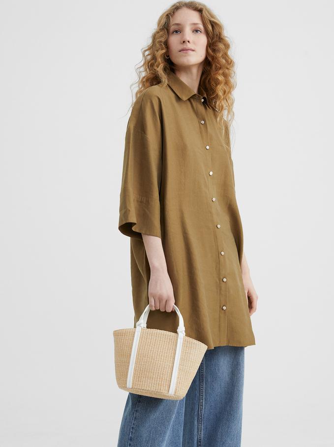 Mala Shopper Textura Ráfia , Bege, hi-res