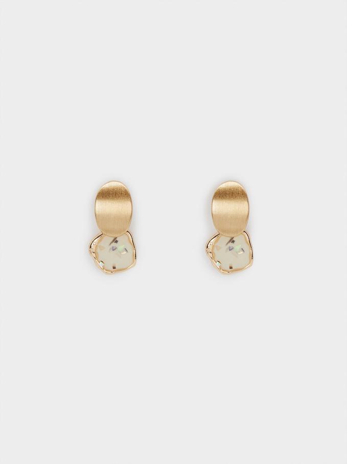 Short Enamel Earrings, Beige, hi-res